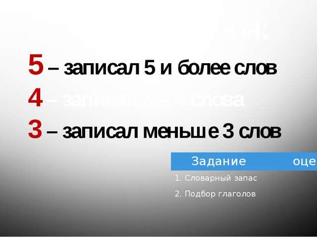 Оцените себя: 5 – записал 5 и более слов 4 – записал 3 – 4 слова 3 – записал...
