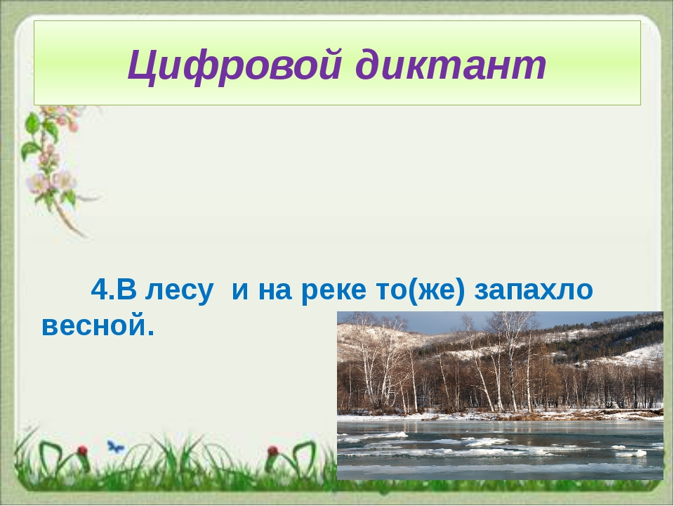 Цифровой диктант 4.В лесу и на реке то(же) запахло весной.