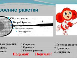 Строение ракетки 1.Головка ракетки 2.Стержень 3.Рукоятка 1.Стержень 2.Рукоятк