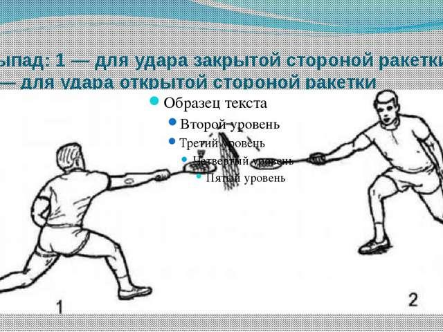 Выпад: 1 — для удара закрытой стороной ракетки 2 — для удара открытой стороно...