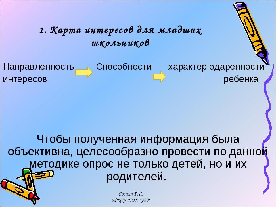1. Карта интересов для младших школьников Направленность  Способности хара...