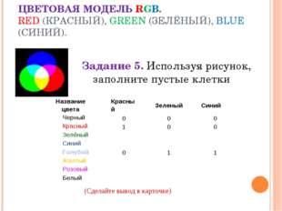 ЦВЕТОВАЯ МОДЕЛЬ RGB. RED (КРАСНЫЙ), GREEN (ЗЕЛЁНЫЙ), BLUE (СИНИЙ). Задание 5.