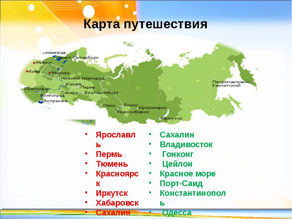 Карта путешествия Ярославль Пермь Тюмень Красноярск Иркутск Хабаровск Сахалин...