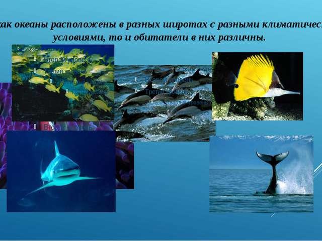 Так как океаны расположены в разных широтах с разными климатическими условиям...