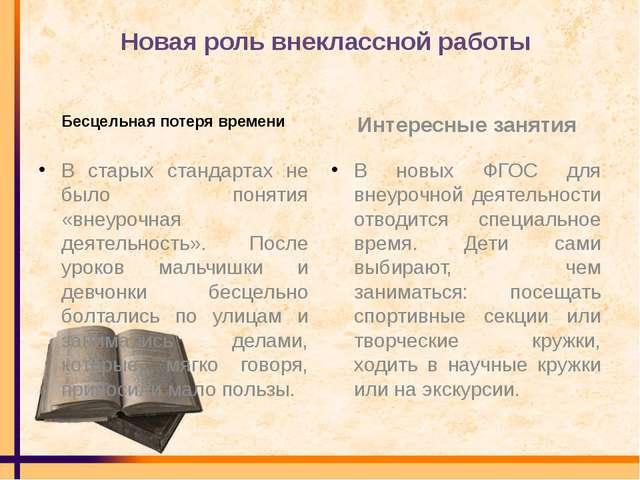 Новая роль внеклассной работы Бесцельная потеря времени В старых стандартах н...