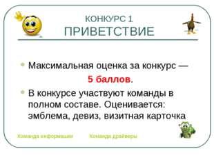 КОНКУРС 1 ПРИВЕТСТВИЕ Максимальная оценка за конкурс — 5 баллов. В конкурсе
