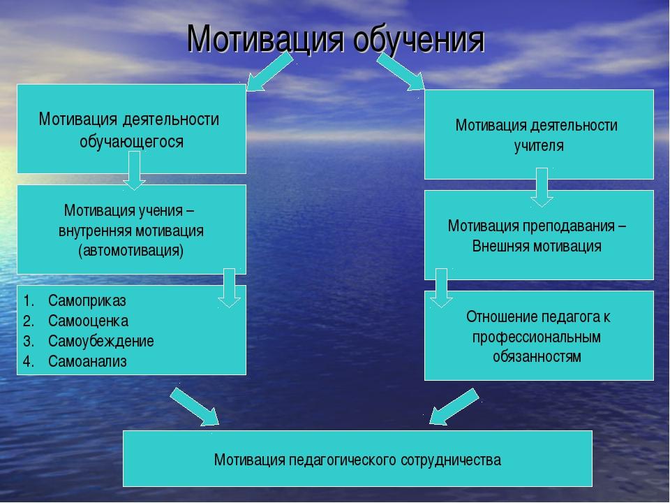 Мотивация обучения Мотивация деятельности обучающегося Мотивация деятельности...