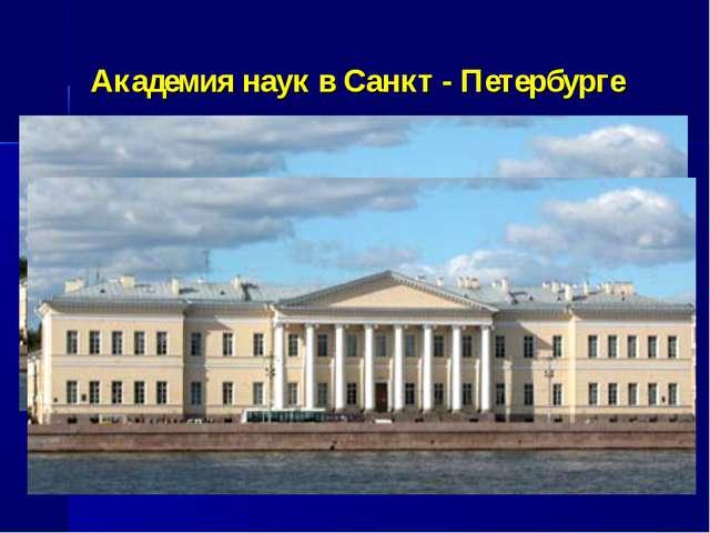 Академия наук в Санкт - Петербурге