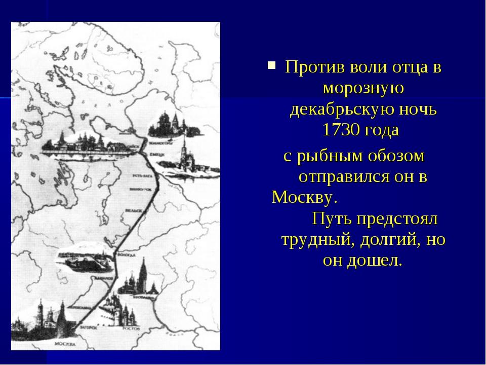 Против воли отца в морозную декабрьскую ночь 1730 года с рыбным обозом отправ...
