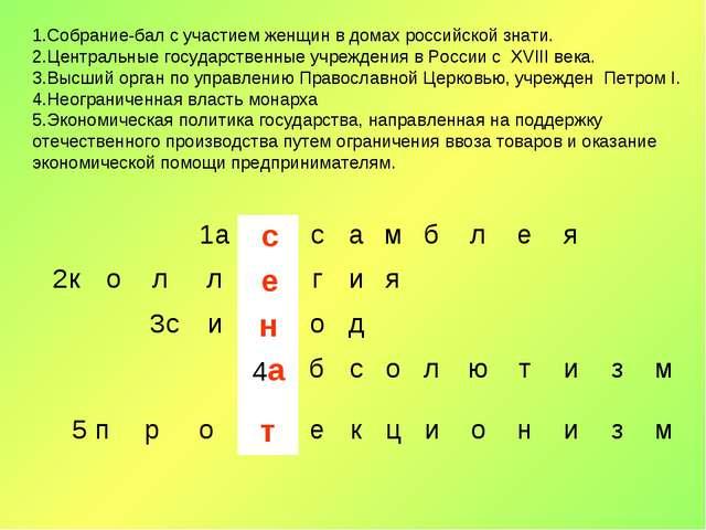 1.Собрание-бал с участием женщин в домах российской знати. 2.Центральные госу...