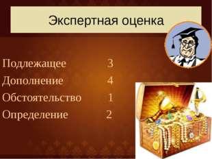 Экспертная оценка Подлежащее 3 Дополнение 4 Обстоятельство 1 Определение 2