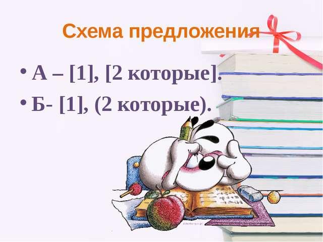 Схема предложения А – [1], [2 которые]. Б- [1], (2 которые).
