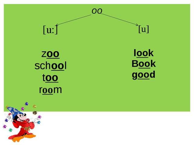 oo [u:] [u] zoo school too room look Book good