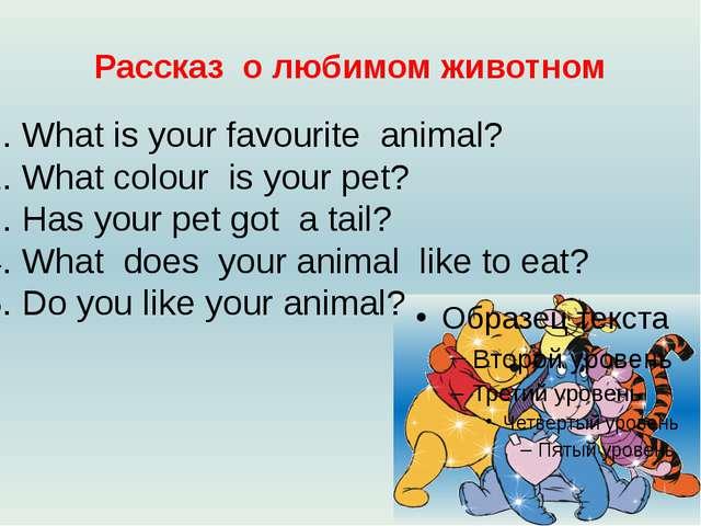 Рассказ о любимом животном What is your favourite animal? What colour is your...