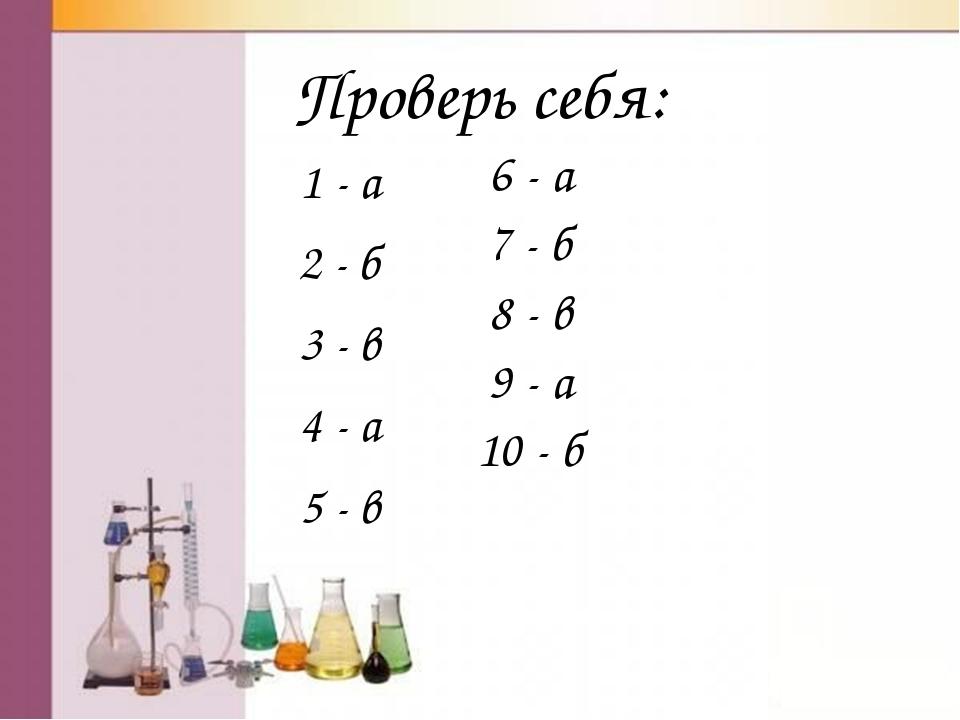 Проверь себя: 1 - а 2 - б 3 - в 4 - а 5 - в 6 - а 7 - б 8 - в 9 - а 10 - б