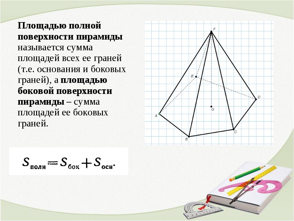 Площадью полной поверхности пирамиды называется сумма площадей всех ее граней...