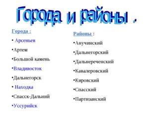 Города : Арсеньев Артем Большой камень Владивосток Дальнегорск Находка Спасск