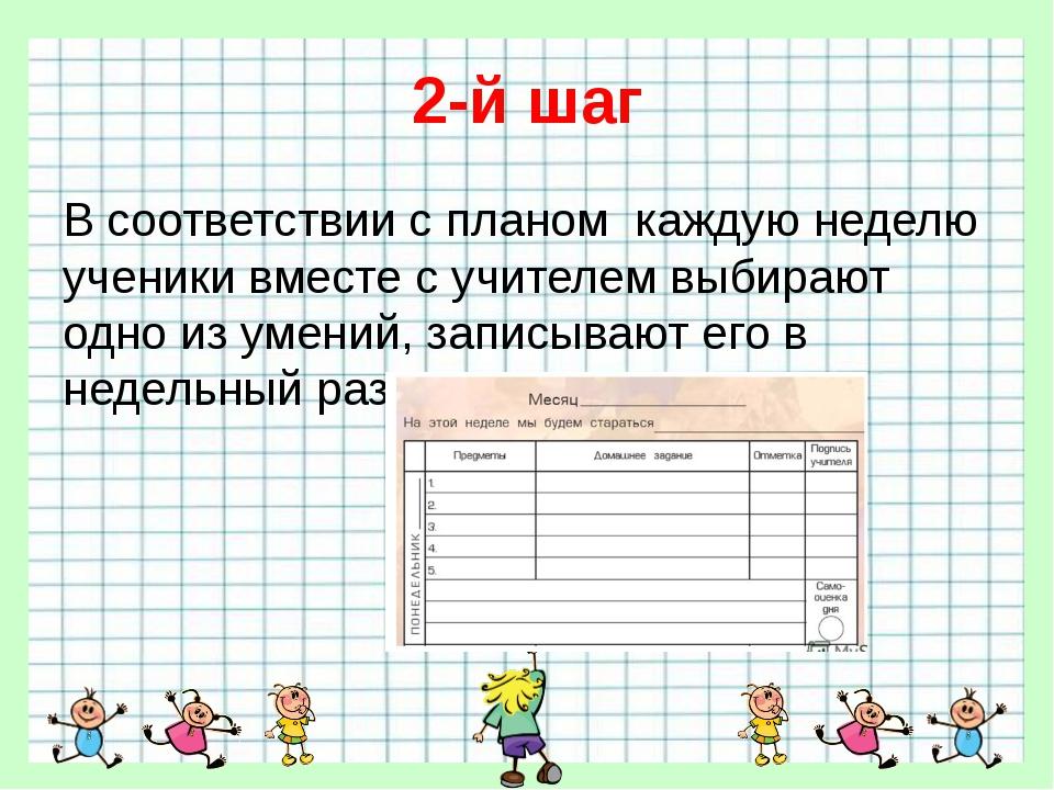 2-й шаг В соответствии с планом каждую неделю ученики вместе с учителем выбир...