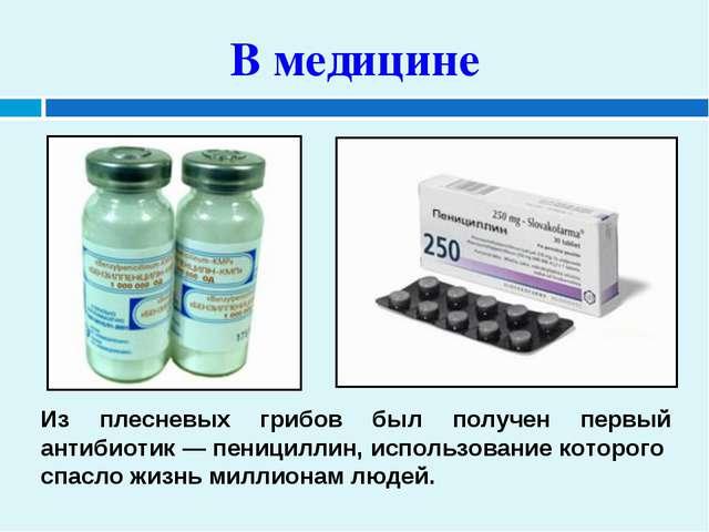 В медицине Из плесневых грибов был получен первый антибиотик — пенициллин, ис...