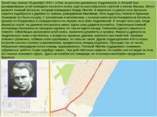 Погиб наш земляк 18 декабря 1941 г. в бою за русскую деревеньку Андреевскую,