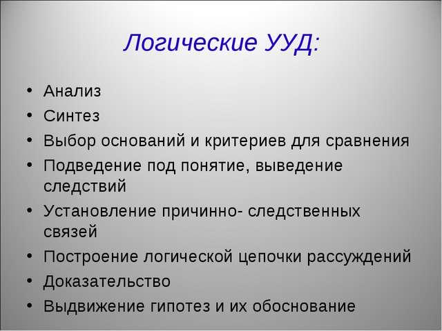 Логические УУД: Анализ Синтез Выбор оснований и критериев для сравнения Подве...