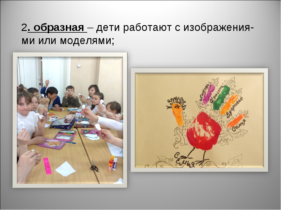 2. образная – дети работают с изображения- ми или моделями;