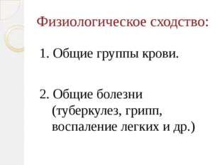 Физиологическое сходство: 1. Общие группы крови. 2. Общие болезни (туберкулез