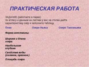 ПРАКТИЧЕСКАЯ РАБОТА ЗАДАНИЕ (работаете в парах): по атласу и данным на листка