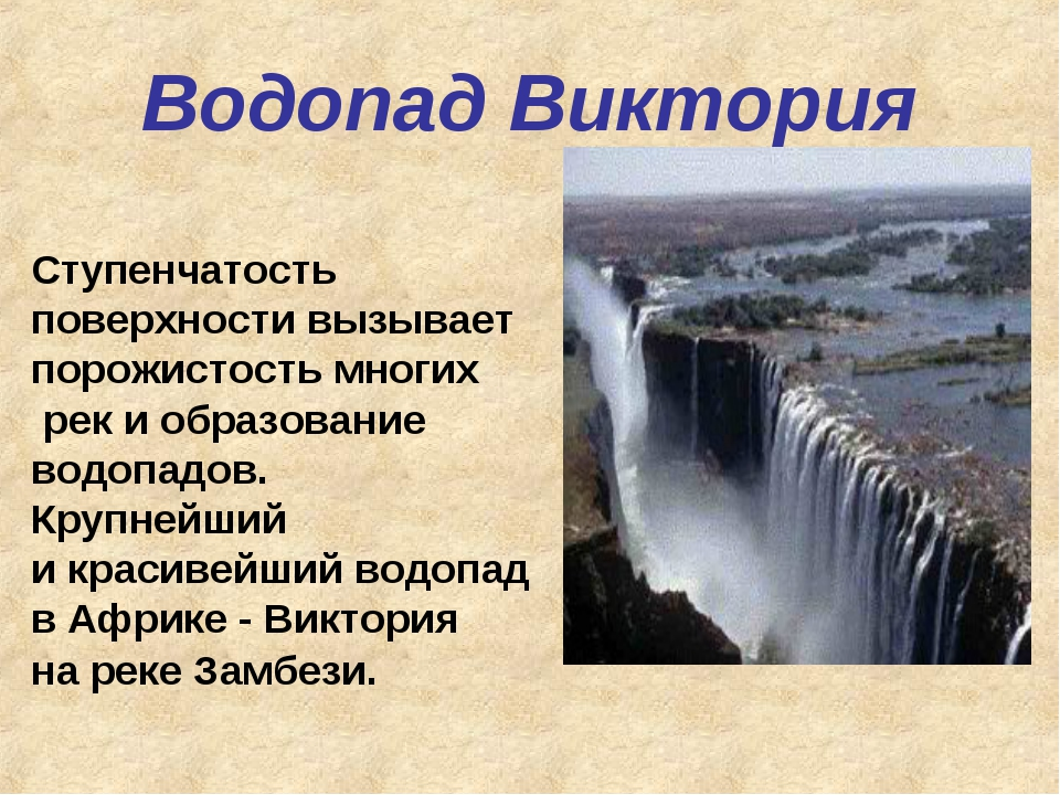 Водопад Виктория Ступенчатость поверхности вызывает порожистость многих рек и...