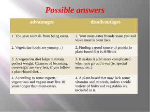Possible answers advantages disadvantages 1 .You save animals from being eate