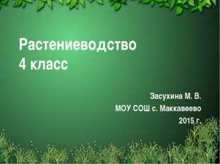 Растениеводство 4 класс Засухина М. В. МОУ СОШ с. Маккавеево 2015 г. Free tem