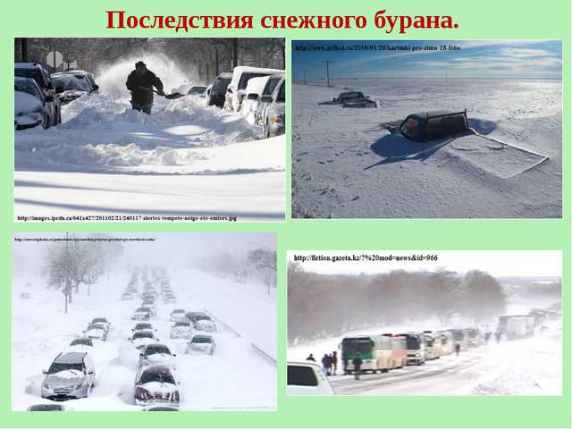 Последствия снежного бурана.