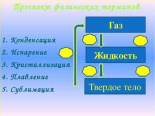 Проспект физических терминов. 1. Конденсация 2. Испарение 3. Кристаллизация