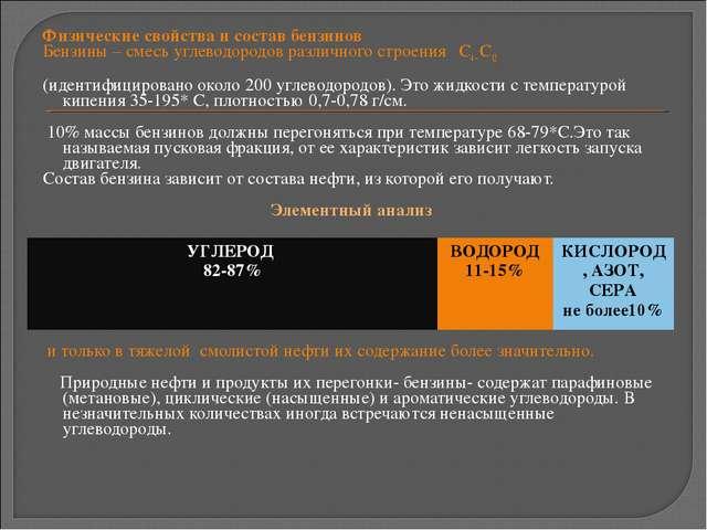 Физические свойства и состав бензинов Бензины – смесь углеводородов различног...