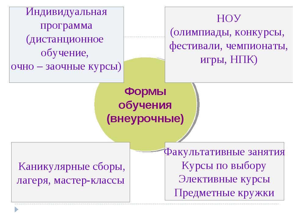 Формы обучения (внеурочные) Индивидуальная программа (дистанционное обучение,...
