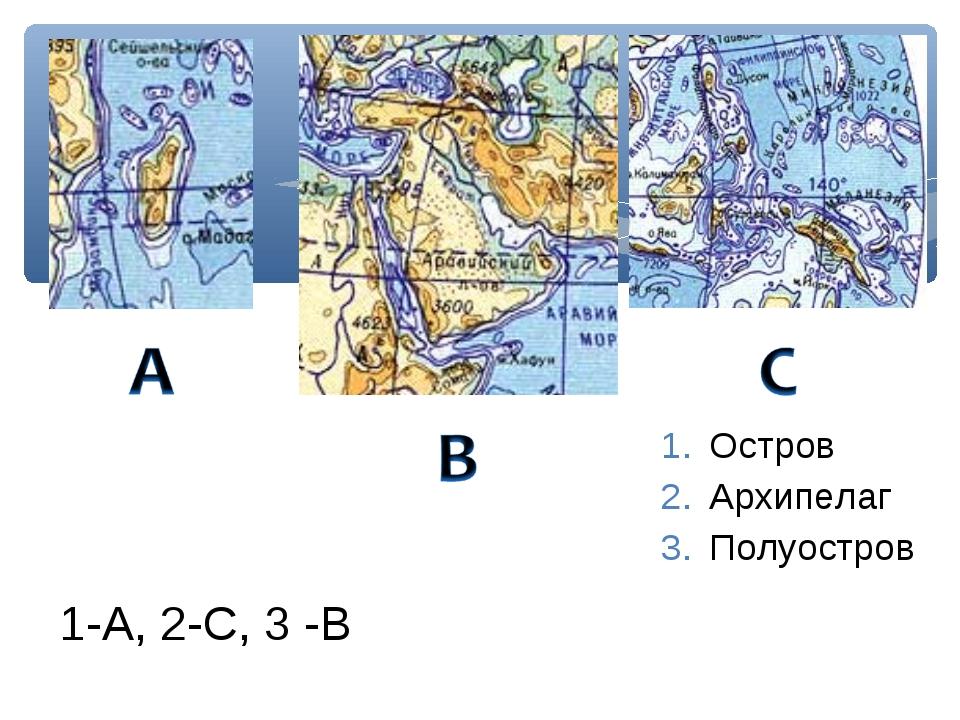 Остров Архипелаг Полуостров 1-А, 2-С, 3 -В
