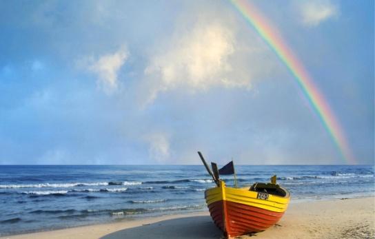 Обои на kards.qip.ru - Природа - Польша, радуга над Балтийским морем - Закачка - 1280x800