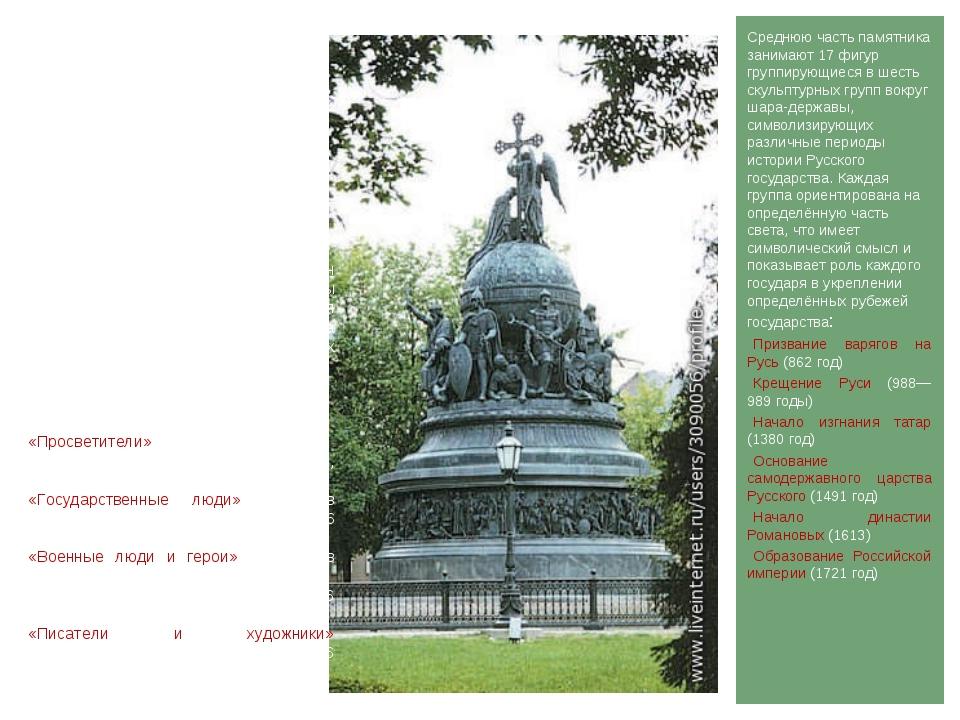 Среднюю часть памятника занимают 17 фигур группирующиеся в шесть скульптурных...