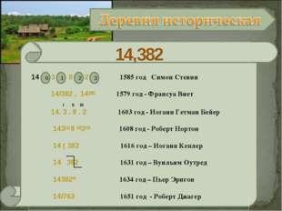 14,382 3 8 2 1585 год Симон Стевин 14/382 , 14382 1579 год - Франсуа Виет I