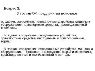 Вопрос 2. В состав ОФ предприятия включают: А. здания, сооружения, передаточ