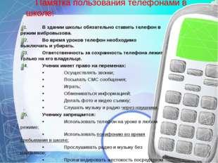 Памятка пользования телефонами в школе: 1.В здании школы обязательно ставит