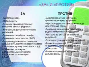 «ЗА» И «ПРОТИВ» ЗАПРОТИВ -Удобство связи. -Мобильность. -Решение производст