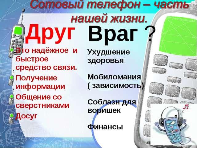 Друг Это надёжное и быстрое средство связи. Получение информации Общение со с...
