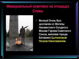 Мемориальный комплекс на площади Славы Вечный Огонь был доставлен от Могилы Н