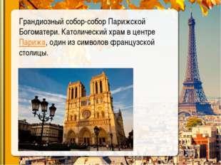 Грандиозный собор-собор Парижской Богоматери. Католический храмв центреПари