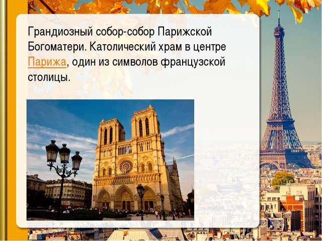 Грандиозный собор-собор Парижской Богоматери. Католический храмв центреПари...