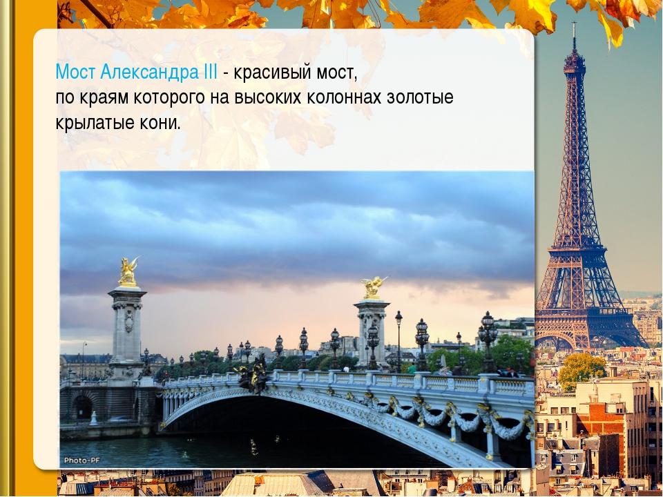 Мост Александра III - красивый мост, по краям которого на высоких колоннах з...