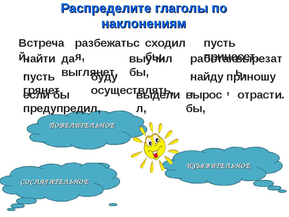 Распределите глаголы по наклонениям ИЗЪЯВИТЕЛЬНОЕ ПОВЕЛИТЕЛЬНОЕ СОСЛАГАТЕЛЬНО...