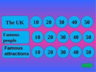 The UK Famous people 10 10 10 20 30 50 40 30 20 20 30 40 50 50 40 Famous att
