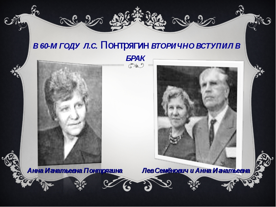 В 60-М ГОДУ Л.С. Понтрягин ВТОРИЧНО ВСТУПИЛ В БРАК Анна Игнатьевна Понтрягина...